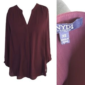 NYDJ Pintuck Button Front Blouse XS